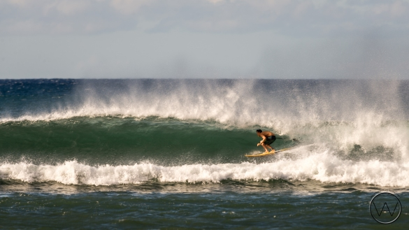 Kody Kerbox pulling into a barrel at Maalaea